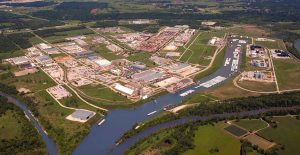 A bird's eye view of the Tulsa Port of Catoosa.