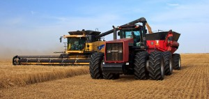 A combine unloads wheat into a grain harvest during wheat harvest.